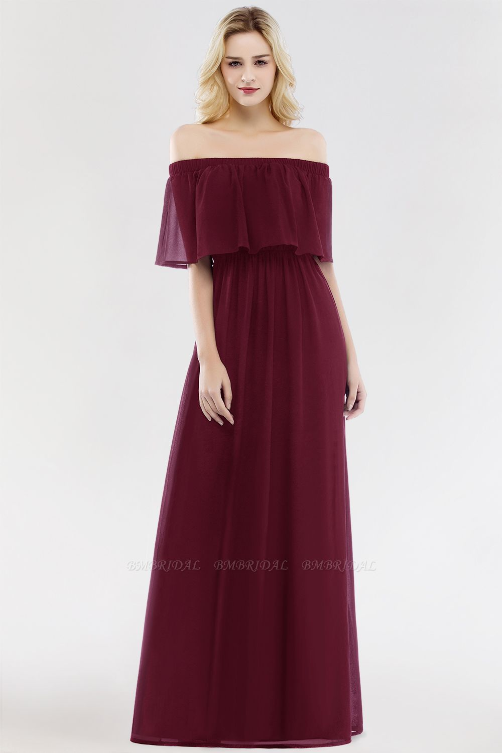 Vintage Off-the-Shoulder Long Burgundy Bridesmaid Dress with Ruffle