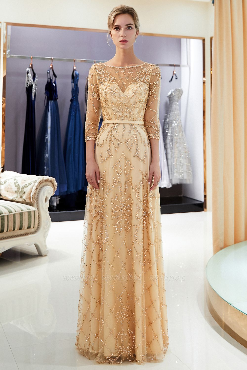 BMbridal Affordable A-line Illusion Neckline Prom Dresses Long Beading Evening Dresses with Sleeves