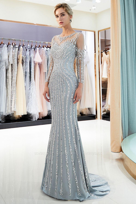 BMbridal Gorgeous Mermaid Jewel Long Prom Dresses Long Sleeves Evening Dresses with Rhinestones