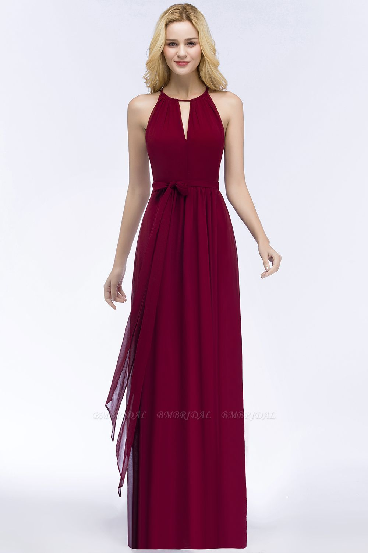 Gorgeous Chiffon Halter Deep V-Neck Burgundy Bridesmaid Dresses Cheap