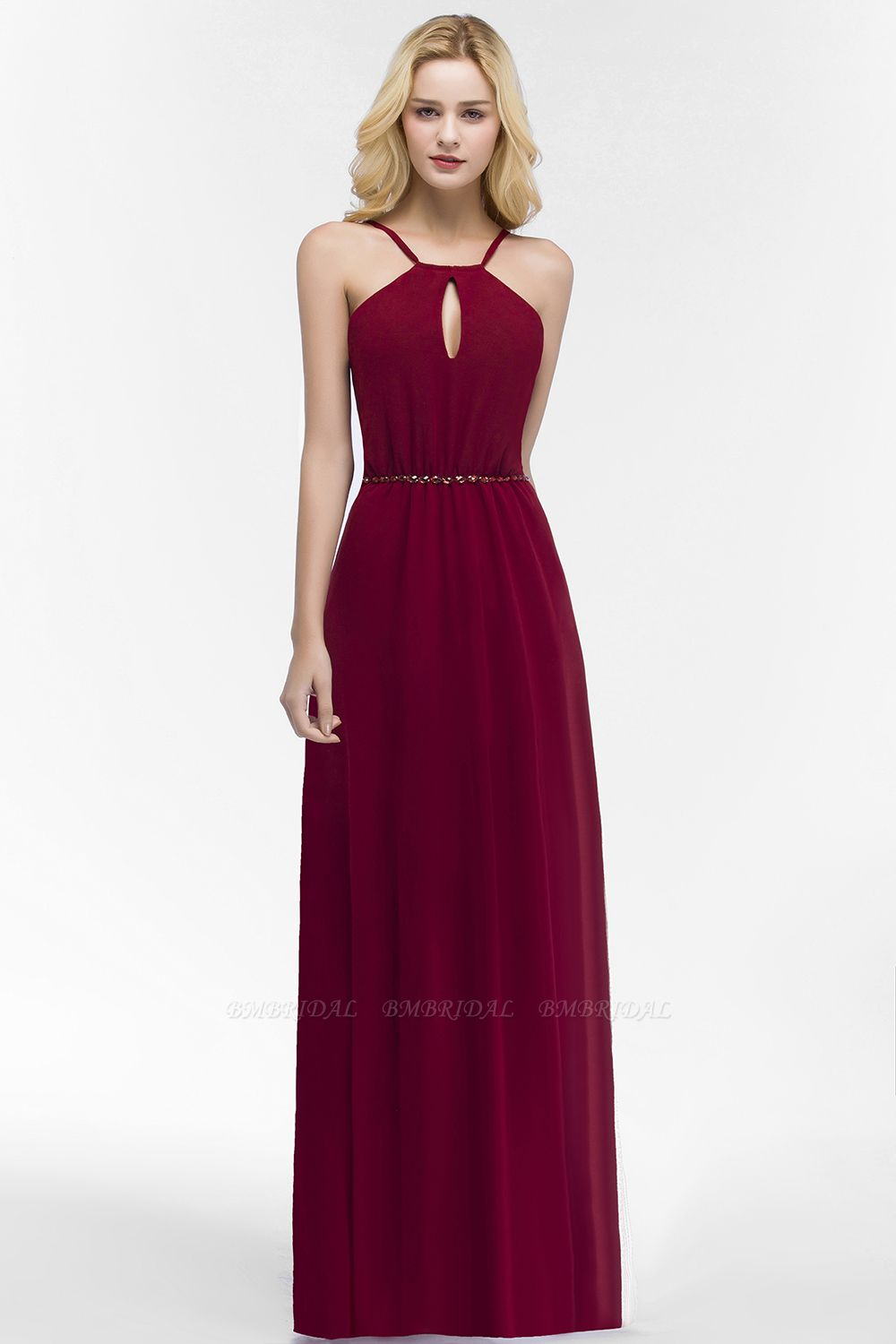 Burgundy Spaghetti Straps Long Bridesmaid Dress with Beading Sash