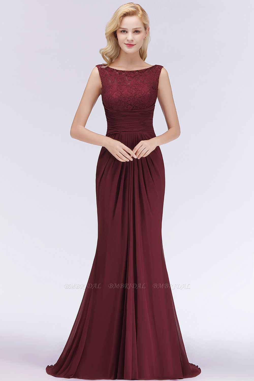 BMbridal Mermaid Scoop Sleeveless Lace Burgundy Bridesmaid Dresses with Pleats