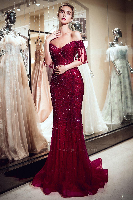 BMbridal Elegant Mermaid Off-the-shoulder Prom Dresses V-neck Sequins Long Evening Dresses