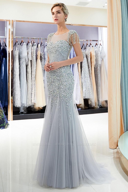 Elegant Mermaid Sleeveless Prom Dresses Flower Tulle Evening Dresses with Rhinestones