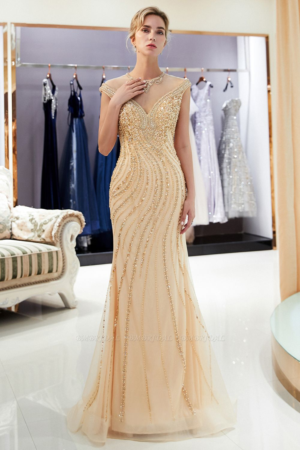 BMbridal Elegant Mermaid Jewel Long Gold Prom Dresses Sleeveless Evening Gowns with Rhinestones