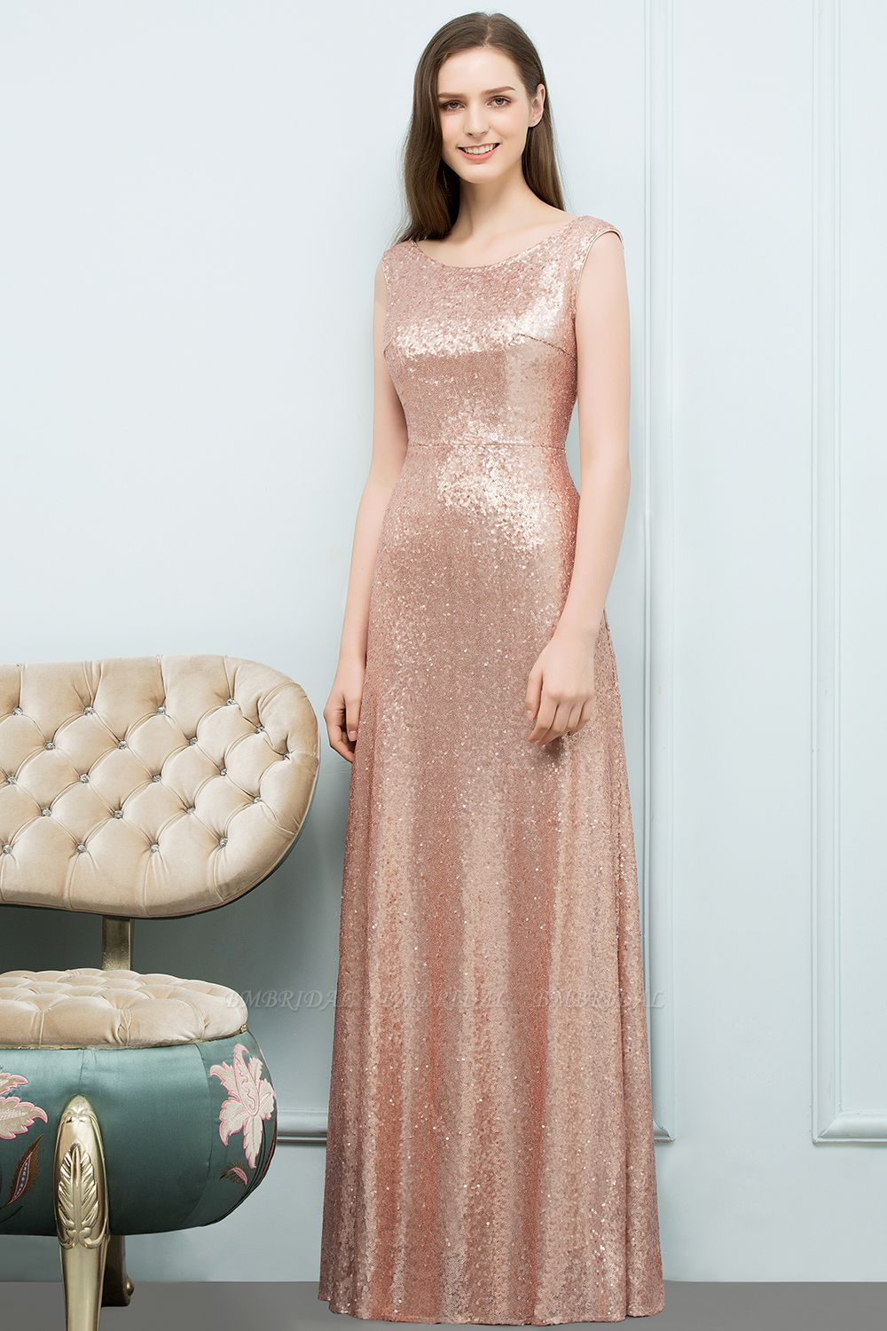 BMbridal Shiny Sequined Scoop Sleeveless Champagne Bridesmaid Dress Online