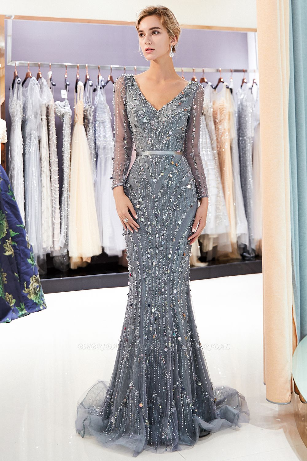 BMbridal Chic Mermaid Long Sleeves Prom Dresses V-neck Sequins Evening Gowns with Sash
