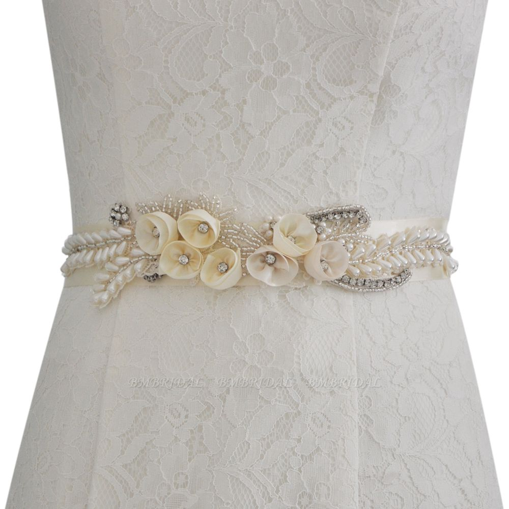 BMbridal Handmade Flower Pearl Wedding Sash with Beadings
