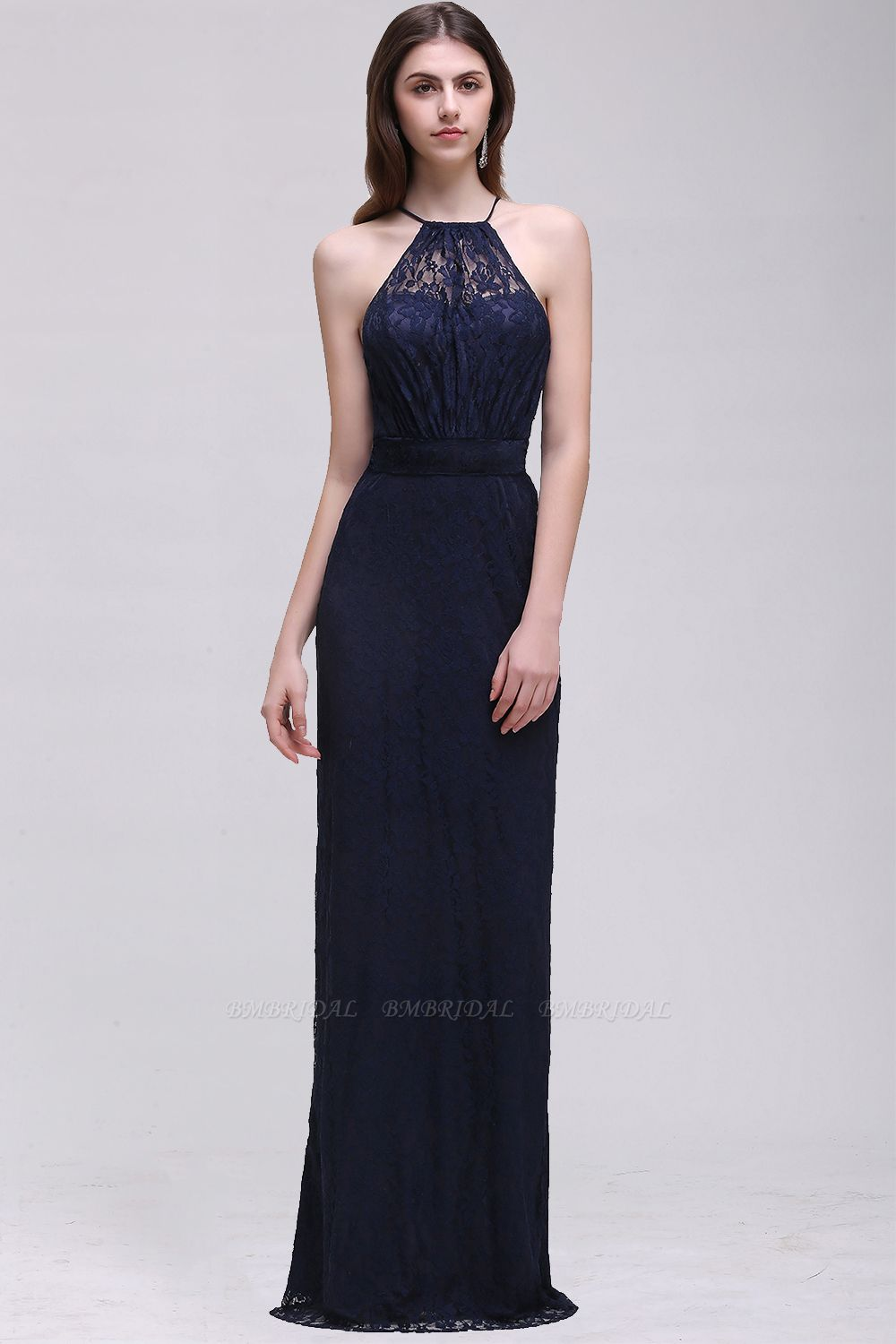 Vintage Halter Sleeveless Lace Navy Bridesmaid Dresses Affordable