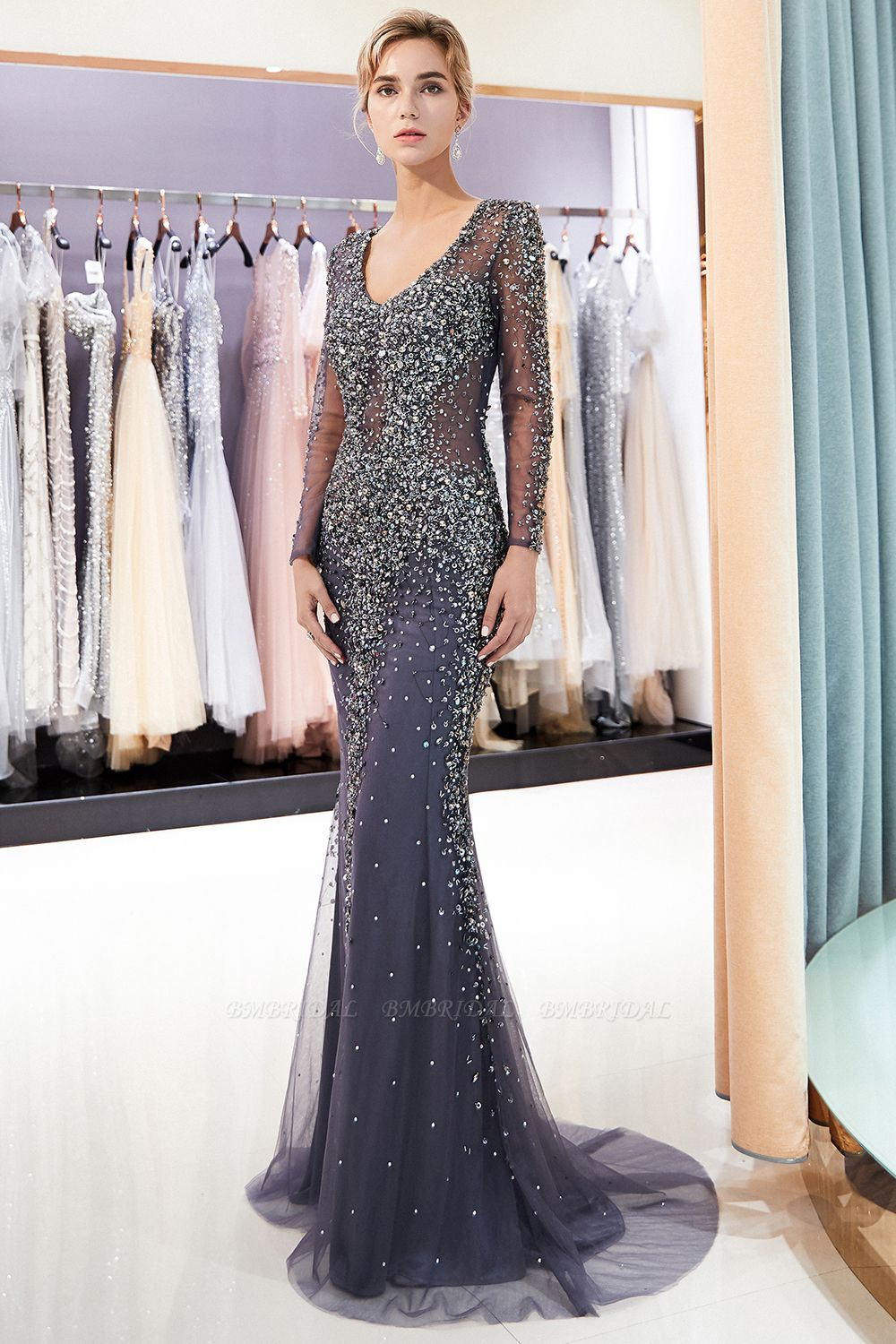 Afordable Mermaid V-Neck Long Sleeves Prom Dresses Sparkly Beading Evening Dresses On Sale