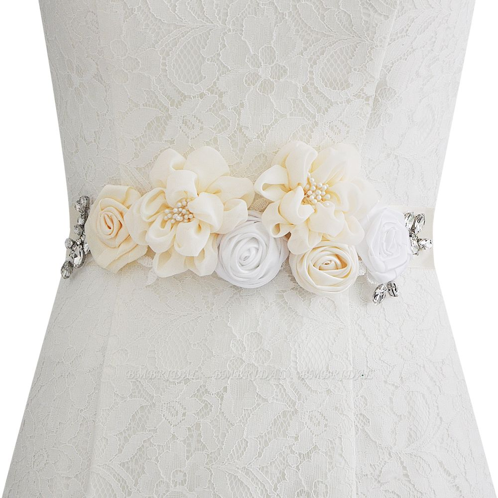 BMbridal Fashion Chiffon Flowers Wedding Sash with Beadings