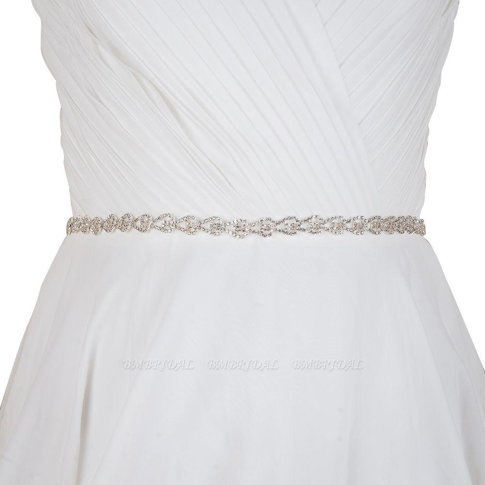 BMbridal Beautiful Satin Rhinestone Crystals Wedding Sash