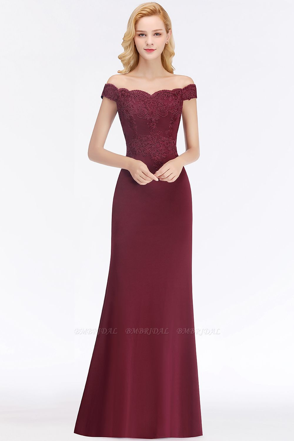 BMbridal Elegant Mermaid Off-the-Shoulder Burgundy Bridesmaid Dresses with Lace