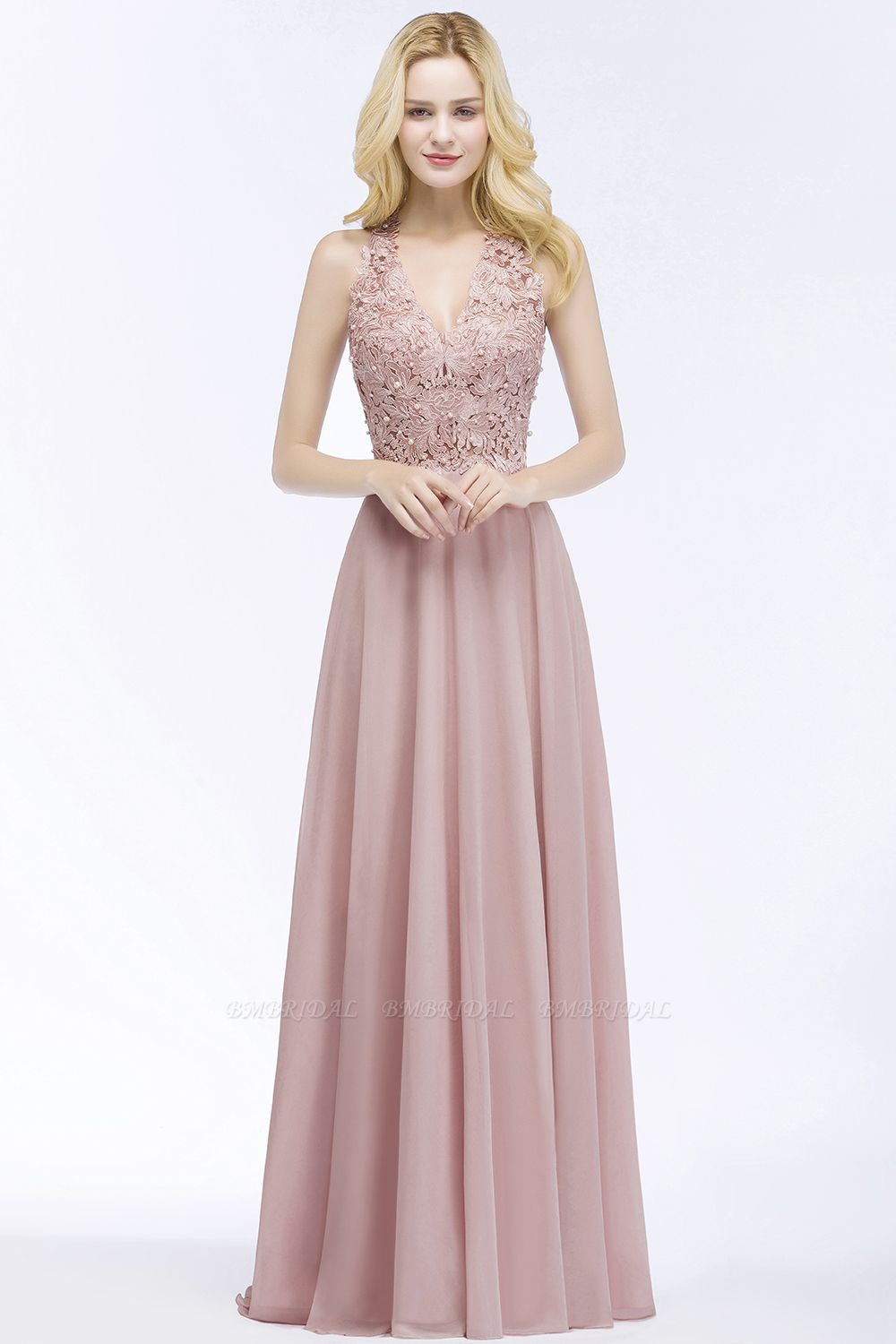 Chic Lace V-neck Pink Chiffon Bridesmaid Dress with Pearls