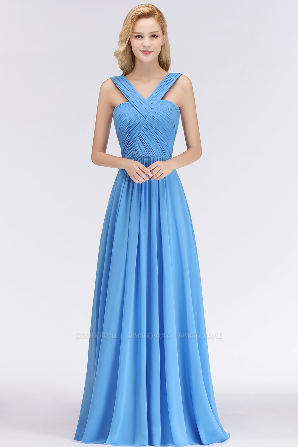 Chic Crisscross Ocean Blue Junior Bridesmaid Dresses Affordable Chiffon Ruffle Maid of Honor Dresses