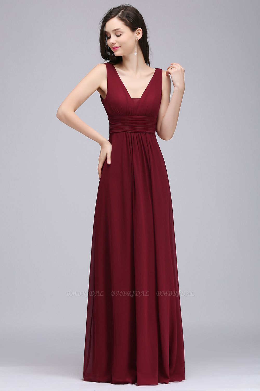Modest Burgundy V-Neck Sleeveless Long Bridesmaid Dresses Cheap
