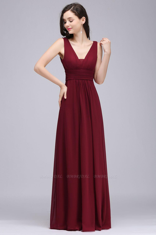BMbridal Modest Burgundy V-Neck Sleeveless Long Bridesmaid Dresses Affordable