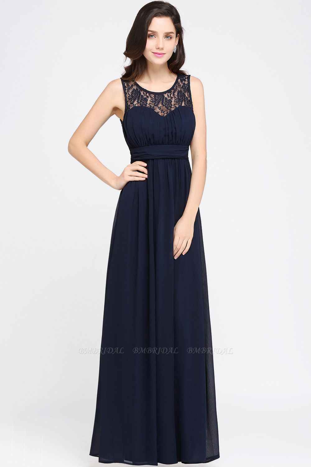 BMbridal Affordable Chiffon Jewel Sleeveless Lace Bridesmaid Dress Online with Ruffle