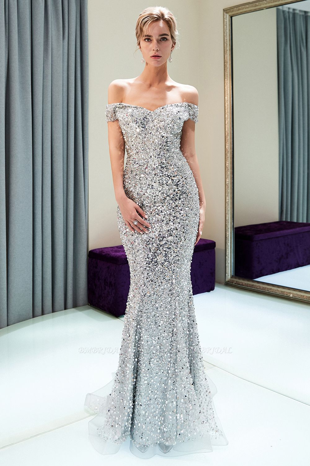BMbridal Affrodable Mermaid Off-the-shoulder Prom Dresses Long Sequins Silver Evening Gowns Online
