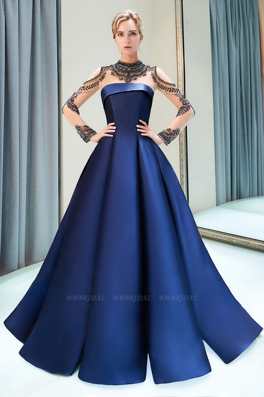 BMbridal Glamorous A-line Long Sleeves Prom Dresses Beading Neckline Satin Evening Gowns On Sale