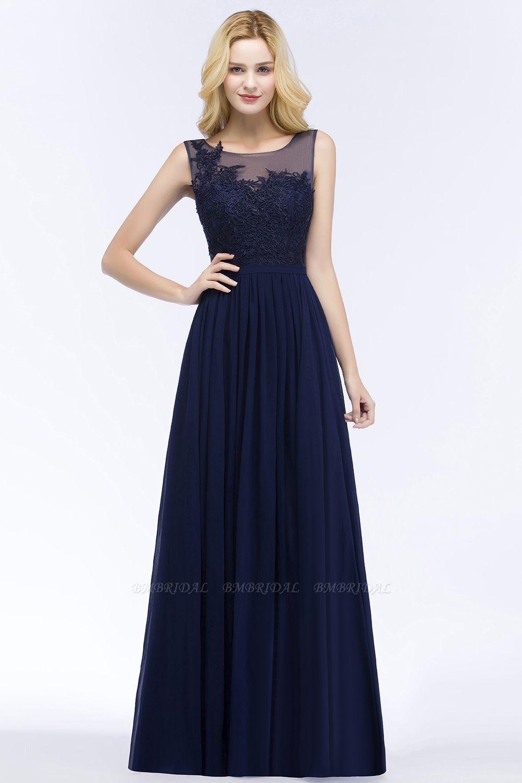 Chiffon Lace Appliques Affordable Navy Bridesmaid Dress Online