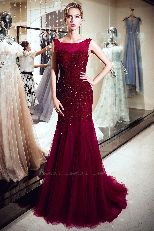 BMbridal Gorgeous Mermaid Sleeveless Prom Dresses Sequined Tulle Burgundy Formal Dresses Online