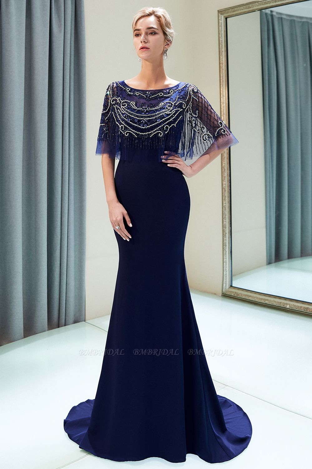 BMbridal Gorgeous Mermaid Jewel Long Prom Dresses Navy Beading Formal Dresses with Crystals