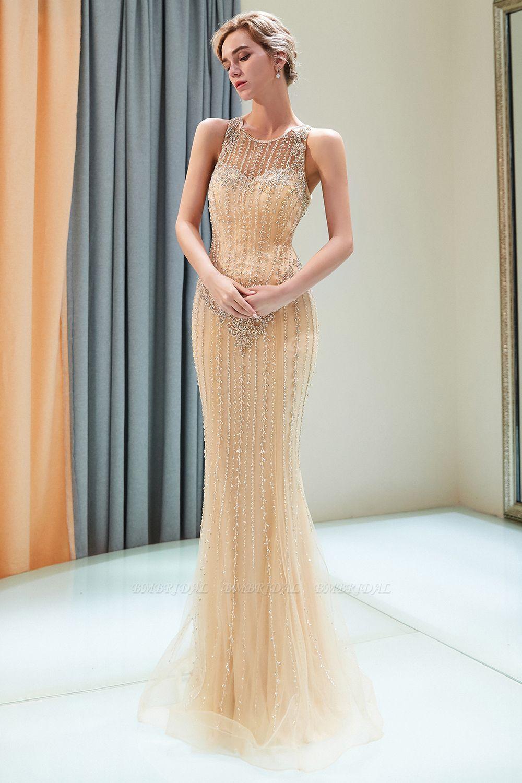 GOrgeous Jewel Gold Mermaid Prom Dresses Sleeveless Evening Dresses with Rhinestones