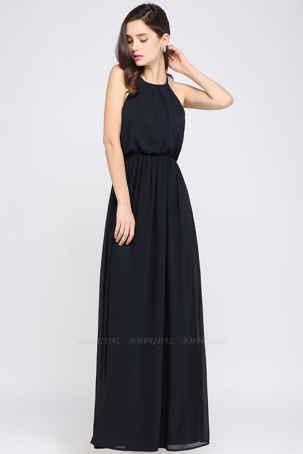Modest High-Neck Halter Chiffon Junior Bridesmaid Dress Cheap