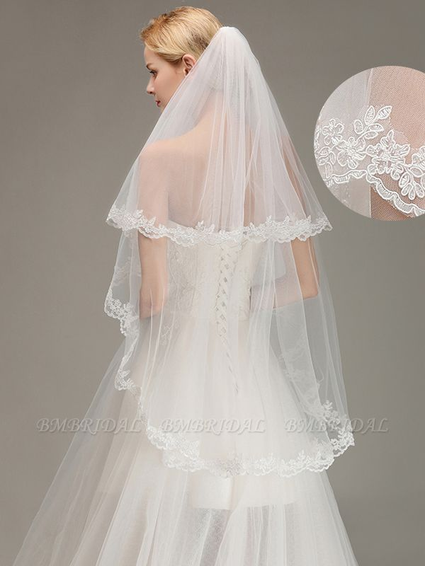 BMbridal Two Layers Lace Edge Wedding Veil with Comb Soft Tulle Bridal Veil