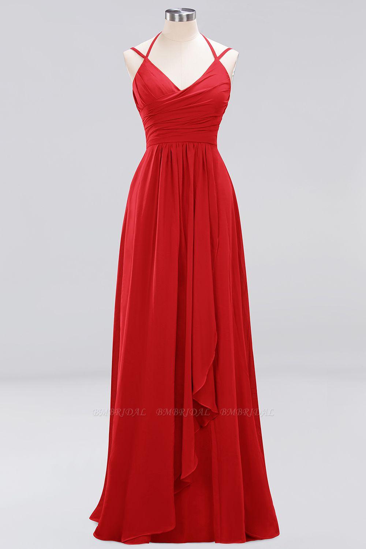 Affordable Chiffon Burgundy Bridesmaid Dress With Spaghetti Straps