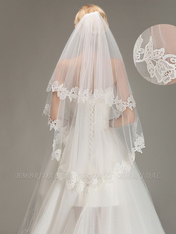 BMbridal Lace Applique Two Layers Wedding Veils With Comb