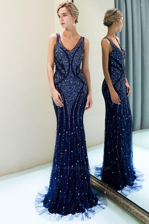 Glamorous Mermaid V-Neck Prom Dresses Sleeveless Long Evening Gowns with Rhinestones