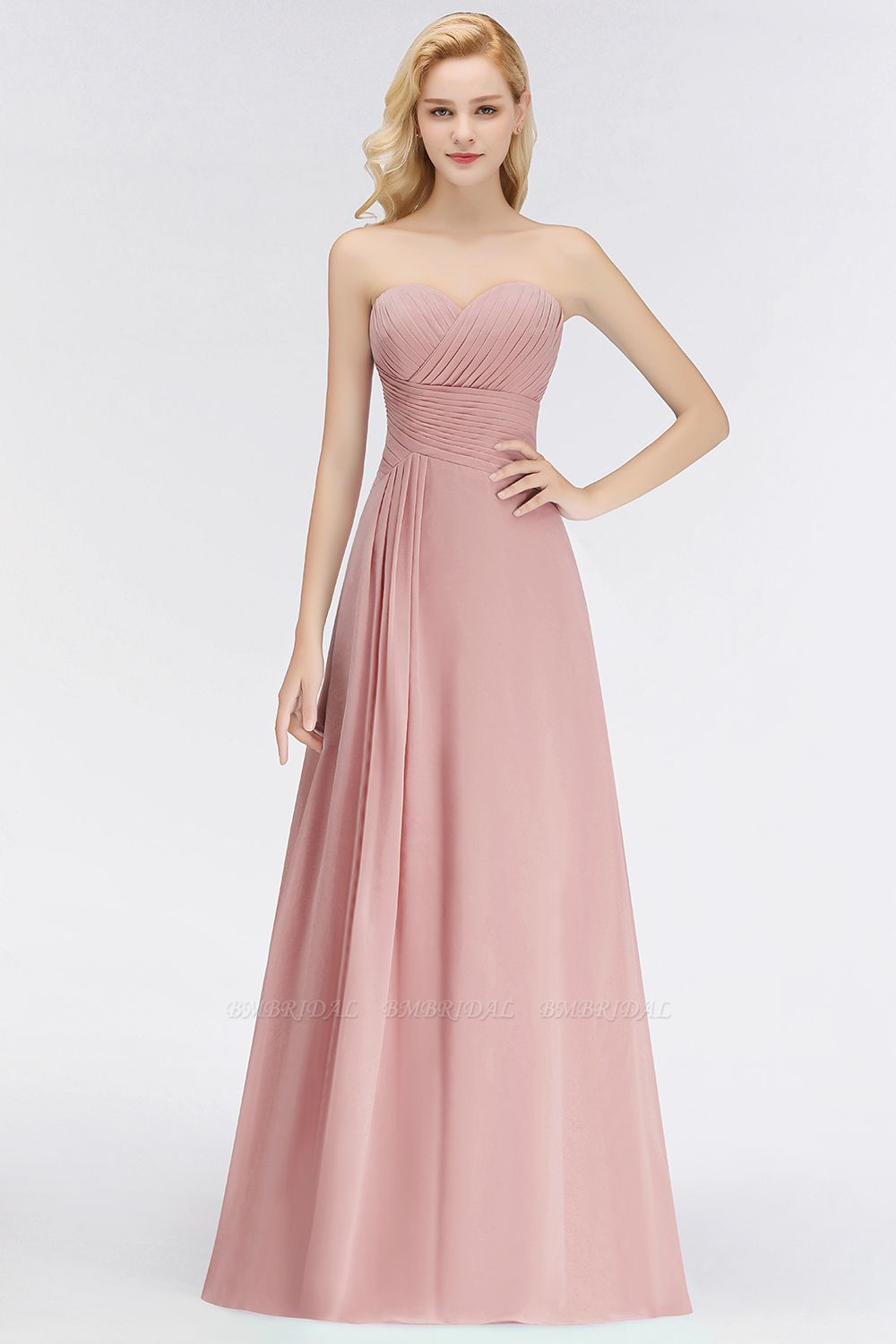BMbridal Gorgeous Sweetheart Ruched Long Bridesmaid Dress Dusty Rose Chiffon Strapless Maid of Honor Dress