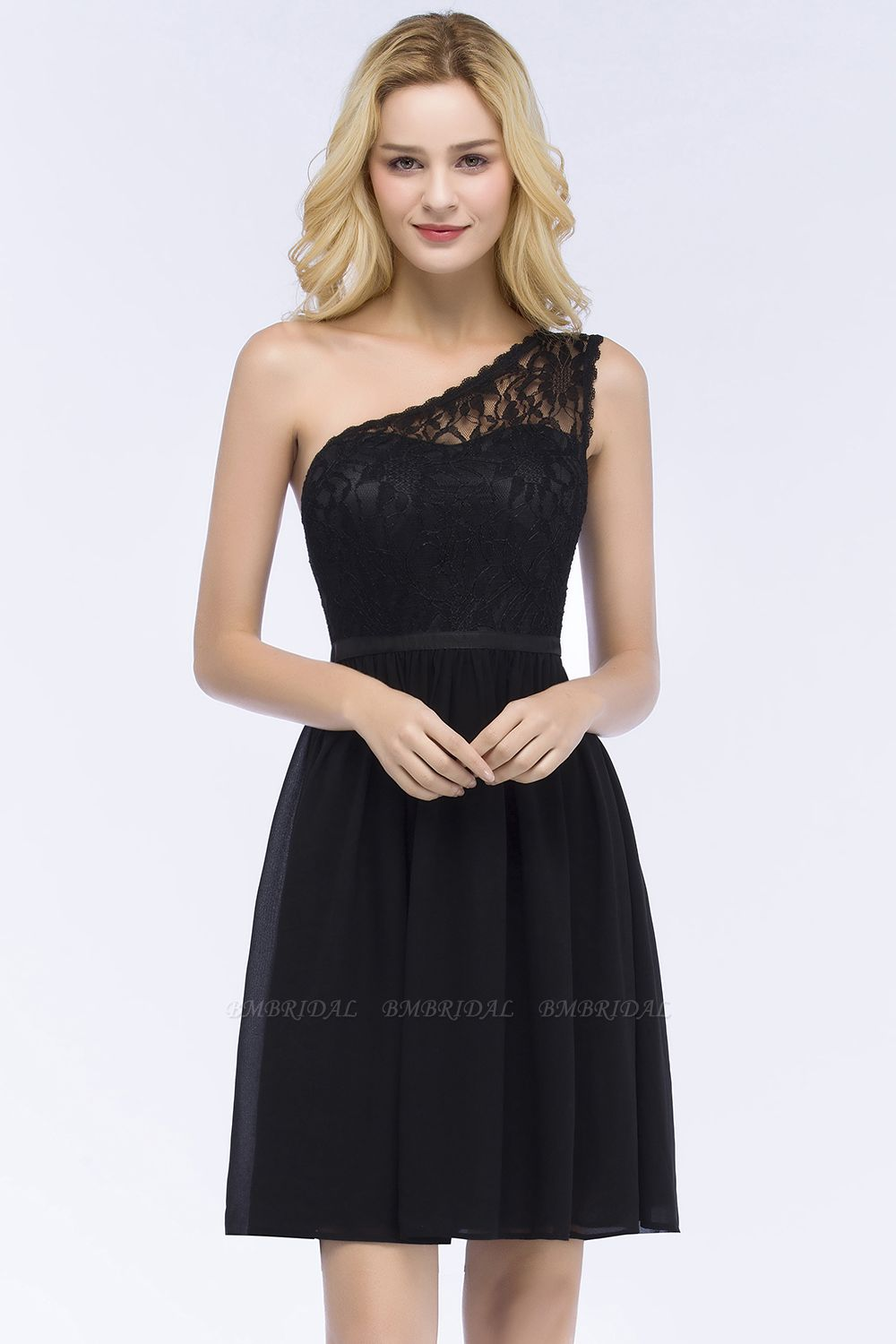 Lovely Lace Black One-shoulder Short Junior Bridesmaid Dresses Online