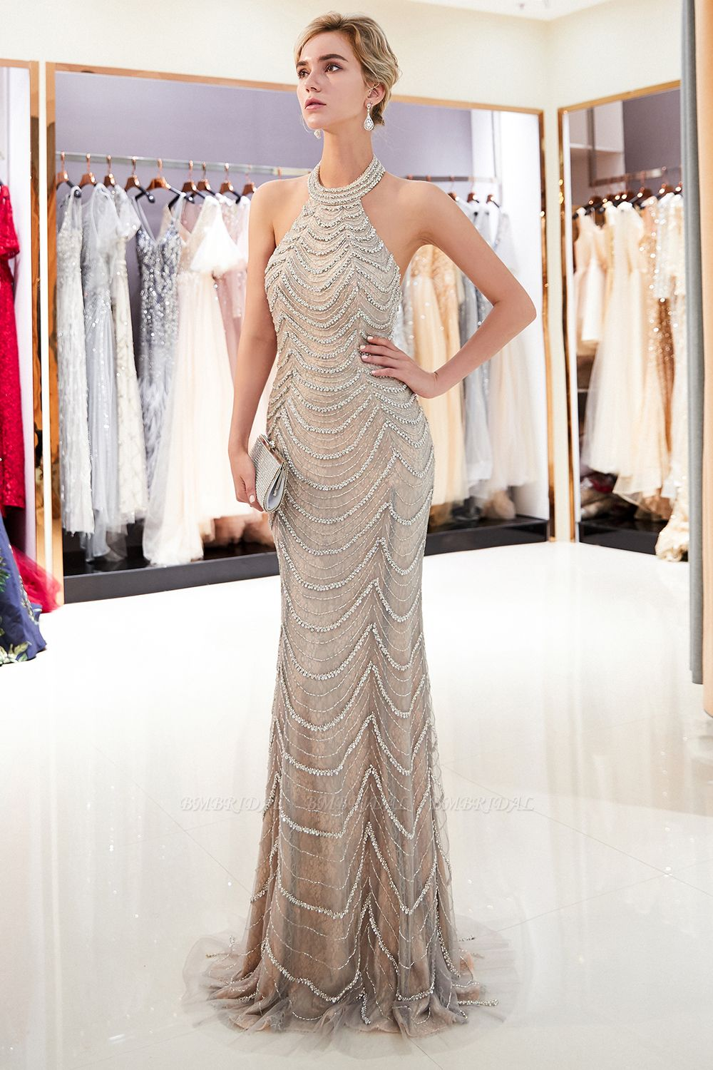 Chic Tulle Mermaid Halter Prom Dresses Sleeveless Sequined Evening Dresses On Sale