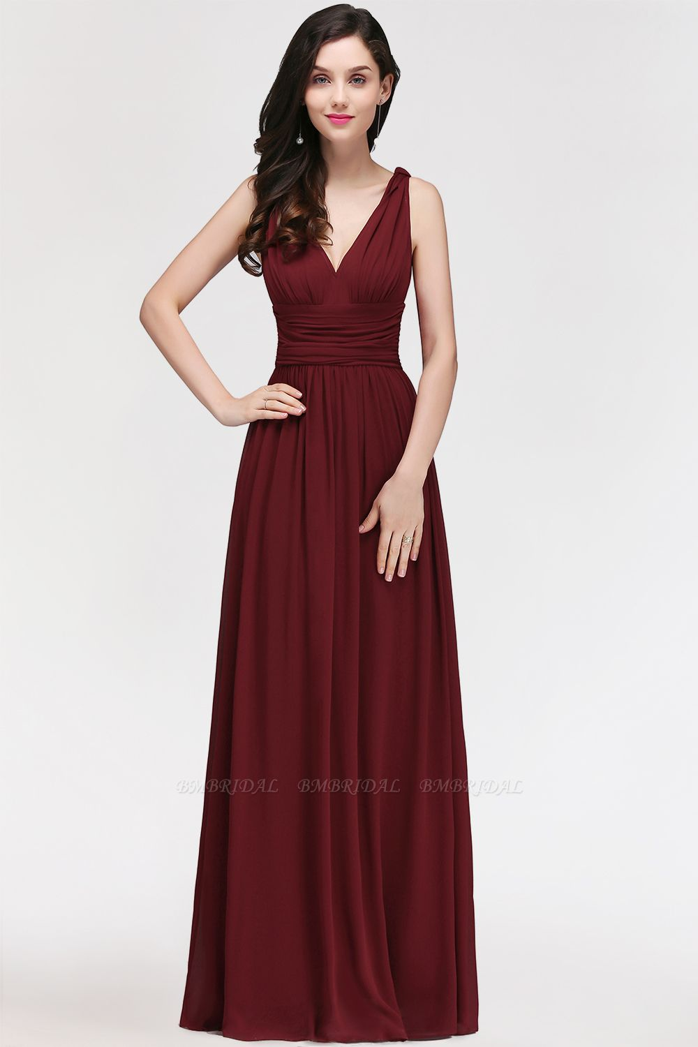 BMbridal Burgundy Long V-Neck Sleeveless Chiffon Bridesmaid Dress Online