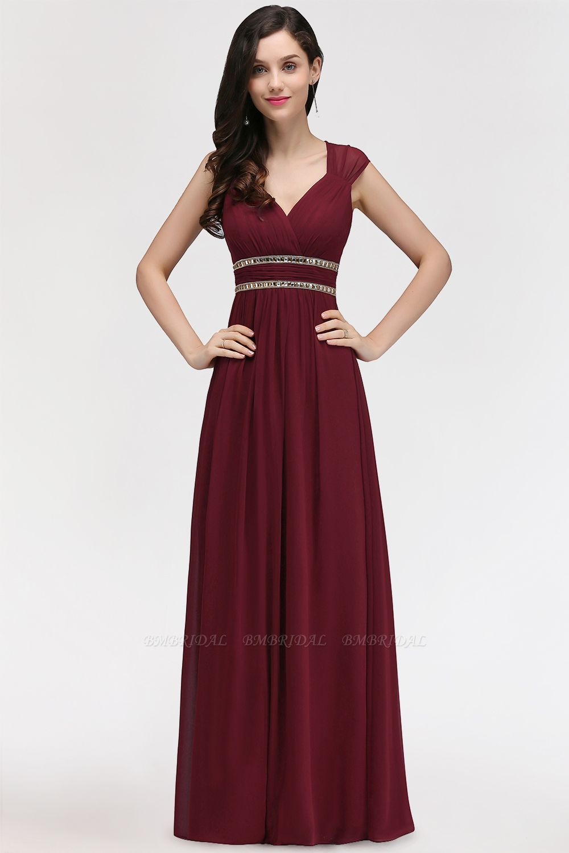 Chiffon Burgundy V-Neck Cap Sleeve Bridesmaid Dress with Beadings
