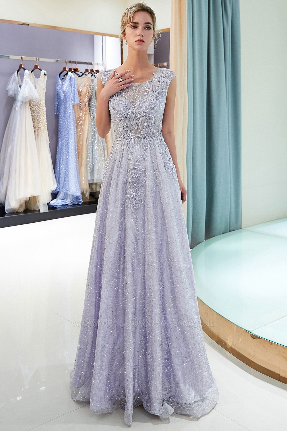 BMbridal Glamorous A-line Jewel Sleeveless Prom Dresses Lace Appliques Formal Dresses with Pearls