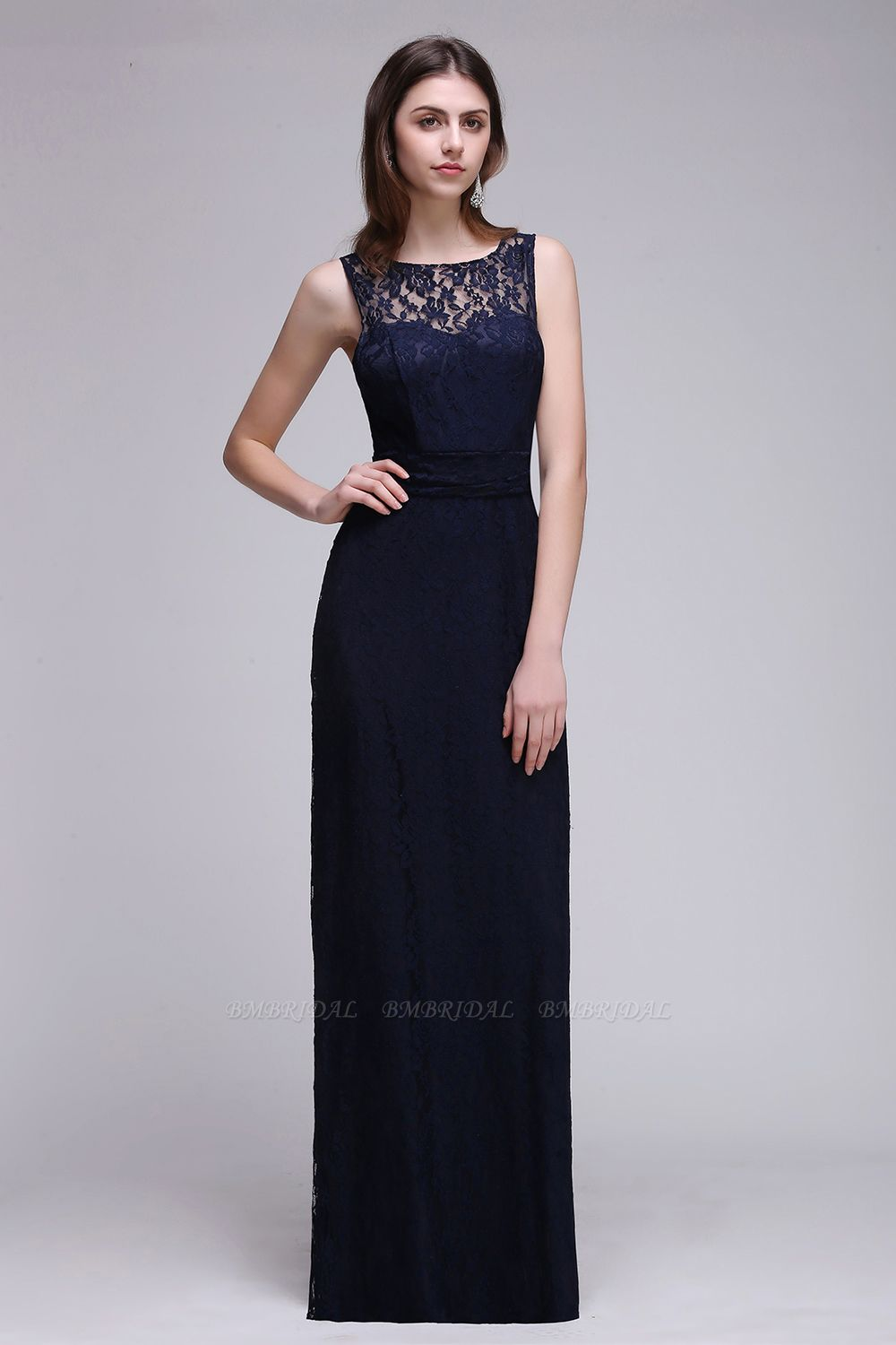 BMbridal Chic Sleeveless Scoop Lace Bridesmaid Dress with Keyhole Back