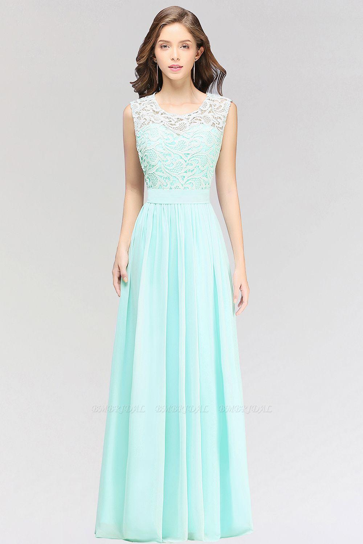 Elegant Lace Jewel Sleeveless Chiffon Bridesmaid Dresses Cheap