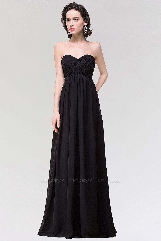 Sexy Strapless Sweetheart Long Black Chiffon Bridesmaid Dress with Ruffles