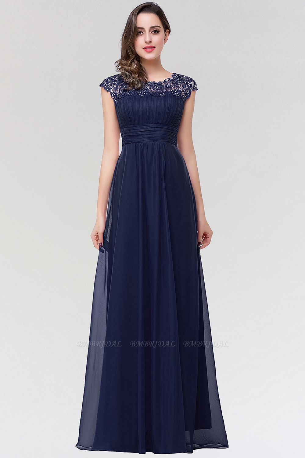 BMbridal Elegant Chiffon Pleated Navy Lace Bridesmaid Dress with Keyhole Back