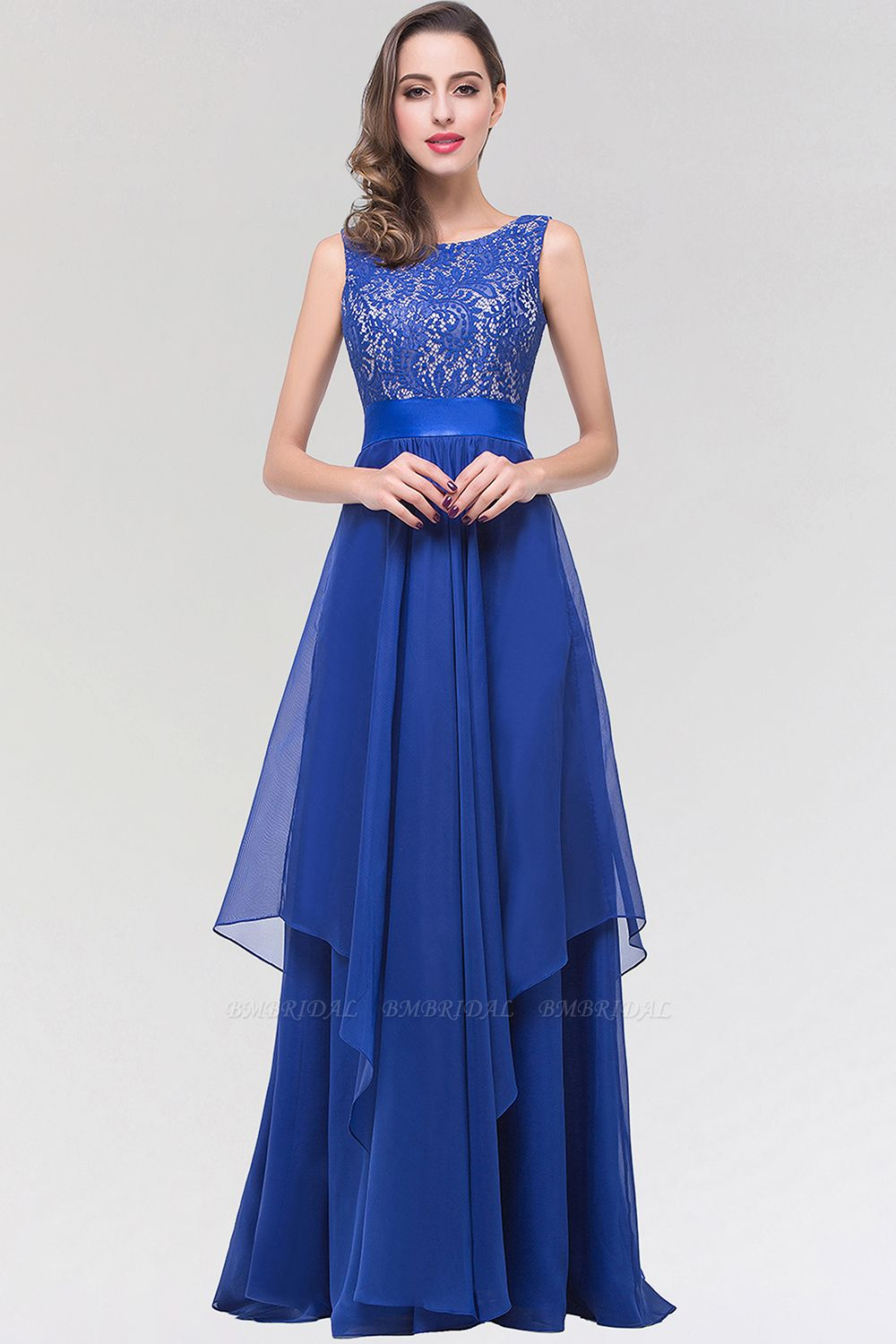 Elegant Lace Jewel Long Chiffon Bridesmaid Dress with Asymmetric Hemline
