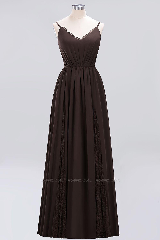 Elegant Spaghetti Straps Long Bridesmaid Dress Lace V-Neck Maid of Honor Dress