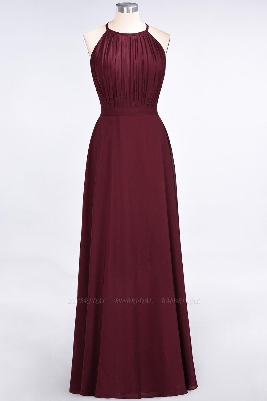 BMbridal Modest Chiffon Jewel Ruffle Burgundy Long Bridesmaid Dresses Online
