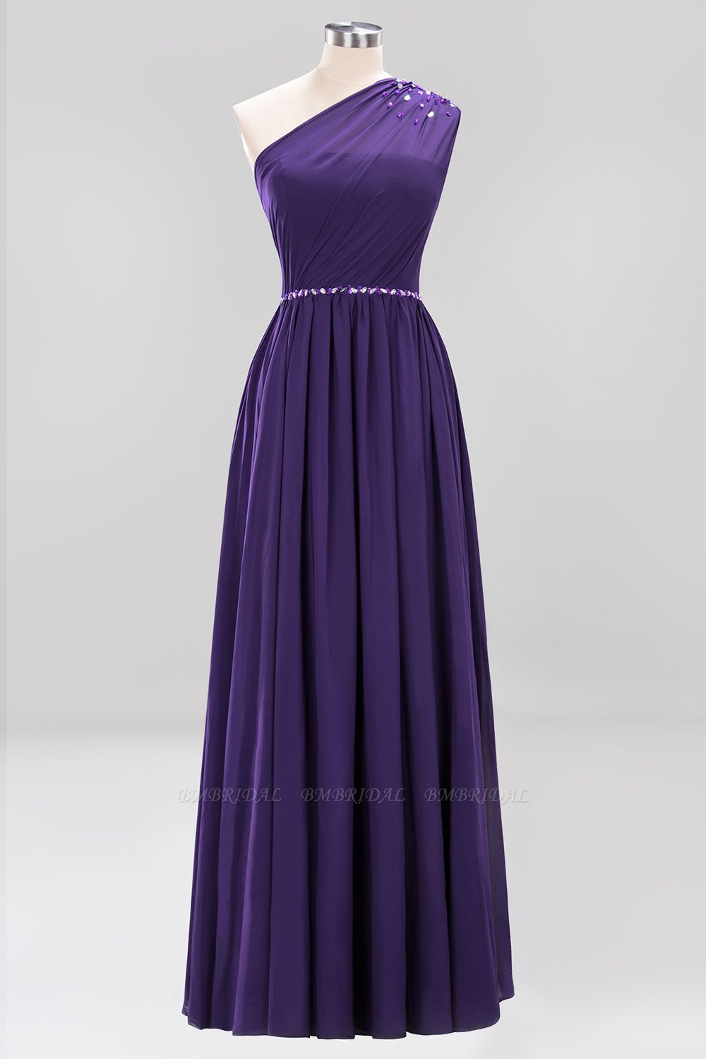 Modest One-shoulder Royal Blue Affordable Bridesmaid Dress with Beadings