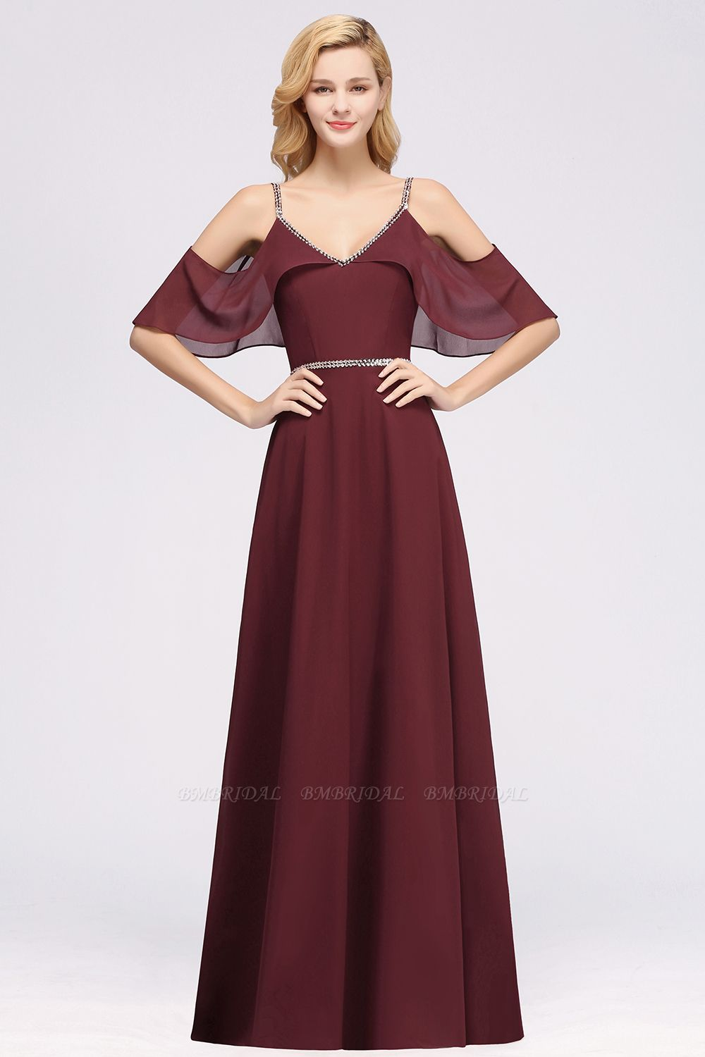 Burgundy Cold-shoulder Long Bridesmaid Dress With Half Sleeve