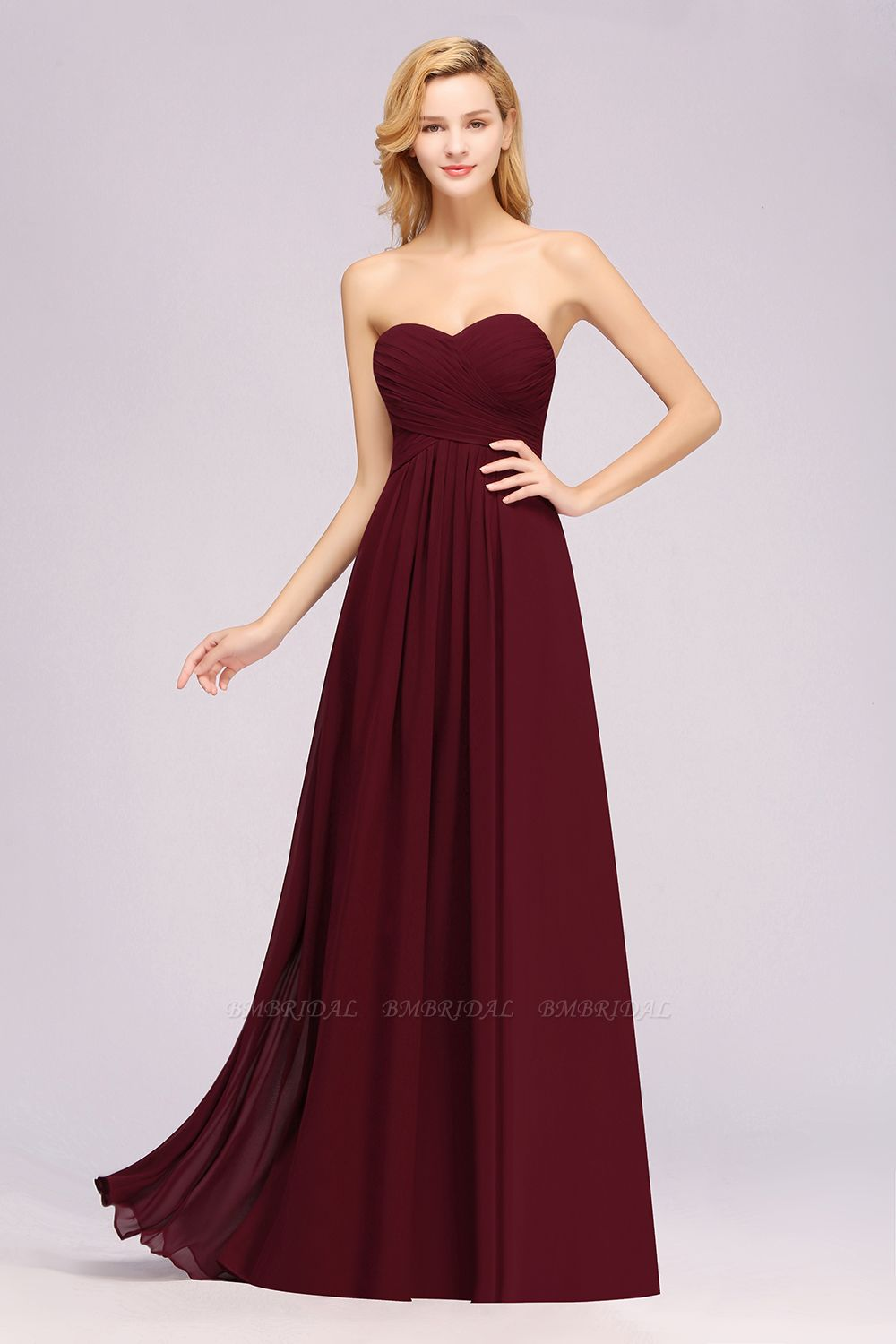 Vintage Sweetheart Long Grape Affordable Bridesmaid Dresses Online