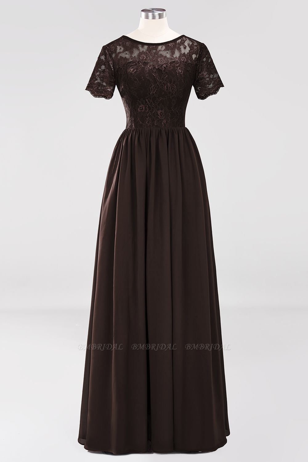 Elegant Dark Navy Long Lace Bridesmaid Dresses with Short-Sleeves